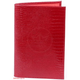 """Обложка для паспорта натуральная кожа """"  Ящерица""""  . O.1.KK.красный"""