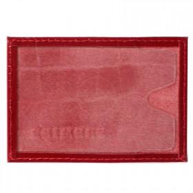 Обложка пропуск/карточка/проездной Premier-V-41 натуральная кожа красный крокодил   (115)