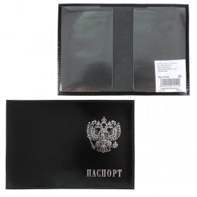 Обложка для паспорта Premier-О-82    (с гербом)    натуральная кожа черный гладкий   (89)