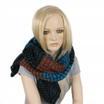 Шарф 35*190см,    акрил 100% 4 цвета,    цвет-02,    сер+оранж+голуб SALE