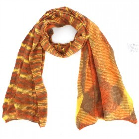 Шарф 45*190см,    акрил 100% меланж,    цвет-11,    6-коричневый+желтый SALE