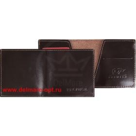 Портмоне мужское Premier-М-55 натуральная кожа 1 отд,    2 карм,    коричн.темный гладкий   (88)