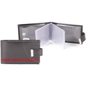 Визитница горизонтальная    (вкл 18 л)    с хлястиком,    н/к,    глад;    черный;    тисн Cards