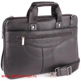 Папка деловая искусственная кожа Cantlor-703A-01,    1отд+отд д/ноут,    3внеш+3внут карм,    плечевой ремень,    черный