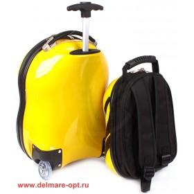 "Комплект 2в 1    (чемодан 47*25*34;    рюкзак 29*16*25) ,    пластик,    ""  Пчелка"" ,    черный+желтый"