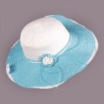 Шляпа женская текстиль    (D=41)    Анжелика-цветок,    424-5 голубой