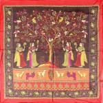 Платок шейный 65*65см,    полиэстер 100%,    плетение шифон,    рис индия,    коричневый