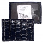 Обложка пропуск/карточка/проездной Premier-V-41 натуральная кожа синий крокодил   (72)