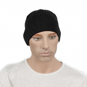 """Шапка мужская DMD-КО-072""""  Зиг-заг""""      (одинарная);    шерсть 60%,    полиэстер 40%,    черный/серый"""