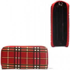 Кошелек женский искусственная кожа 007К,    на 1 молнию,    3отд,    4 карм,       (клетка)    красный