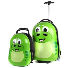 """Комплект 2в 1    (чемодан 47*25*34;    рюкзак 29*16*25) ,    пластик,    """"  Дракончик"""" ,    св. зеленый"""