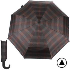 Зонт муж TR-35071,    R=56см,    полуавт;    8 спиц - сталь-fiber;    3 слож,    полиэстер,      (клетка)    коричн/серый