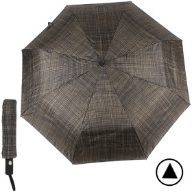 Зонт муж TR-3310,    R=56см,    полуавт;    8 спиц - сталь-fiber;    3 слож,    полиэстер,      (мелкая клетка)    коричневый