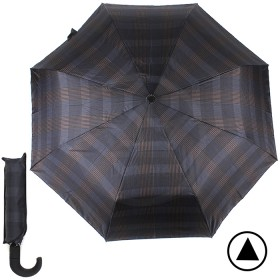 Зонт муж TR-35071,    R=56см,    полуавт;    8 спиц - сталь-fiber;    3 слож,    полиэстер,      (клетка)    синий/коричн