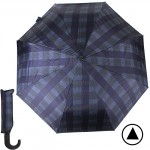 Зонт муж TR-35071,    R=56см,    полуавт;    8 спиц - сталь-fiber;    3 слож,    полиэстер,      (клетка)    синий/фиолет