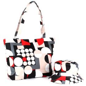 Комплект 118   (сумка пляжная+панама)    текстиль 067-HJ-083,    1отд,    геометрия бежевый
