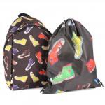 Комплект Юпитер-   (рюкзак+мешок) ,    уплотн.спинка,    1отд+перег,    1внут+3внеш карм,    черный/радуга,    кеды