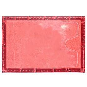 Обложка пропуск/карточка/проездной Premier-V-41 натуральная кожа красный крокодил крупный   (4)