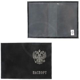 Обложка для паспорта Premier-О-82    (с гербом)    натуральная кожа черный ладья   (327)