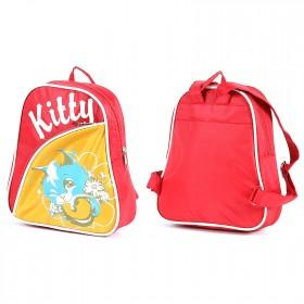 Рюкзак детский Silver Top-1040 Кроха прост спинка/Kitty,    коралл/желтый,    котенок