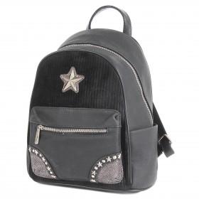 Сумка женская искусственная кожа DJ-CM 3623-BLACK,       (рюкзак) ,    1отд,    2внут+3внеш карм,    черный SALE
