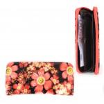 Кошелек женский искусственная кожа 7811,    на 1 молнию,    6отд,    8карм,      (цветы) ,    красный