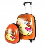 """Комплект 2в 1    (чемодан 45*20*30;    рюкзак 32*11*26) ,    пластик,    """"  Лев"""" ,    коричневый"""