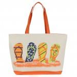 Сумка пляжная текстиль 1505    (сланцы) ,    1отдел,    белый/оранжевый
