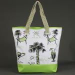 Сумка пляжная текстиль 1606    (пальма) ,    1отдел,    1карм,    зеленый