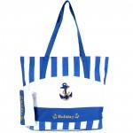 Сумка пляжная текстиль 1312   (полоска/якорь) ,    1 отдел,    синий+бел