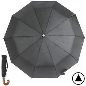 Зонт муж RST-T 1059,    R=58см,    полуавт;    10спиц-сталь+fiber,    3слож,    полиэстер,    черный
