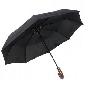 Зонт муж TR-3959,    R=56,    полуавт;    8спиц-сталь+fiber;    3слож;    полиэстер,    черный