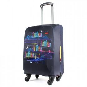 """Чехол для чемодана 24-M""""     (24""""  -70л) ,    полиэстер 100%,       (Город)    черный"""
