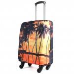 """Чехол для чемодана 24-M""""     (24""""  -70л) ,    полиэстер 100%,       (Пальмы)    оранжевый"""