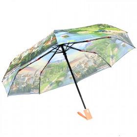 Зонт женский RST-3733,    R=56см,    суперавт;    8спиц-сталь+fiber,    3слож,    полиэстер,    зеленый
