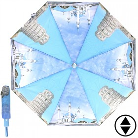 Зонт женский RST-3733,    R=56см,    суперавт;    8спиц-сталь+fiber,    3слож,    полиэстер,    голубой