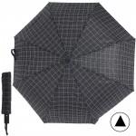 Зонт муж TR-3310,    R=56см,    полуавт;    8 спиц - сталь-fiber;    3 слож,    полиэстер,      (штрих-клетки)    черный