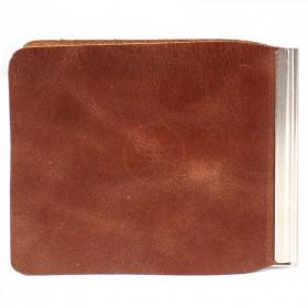 Зажим для купюр Premier-Z-1    (зажим-скрепка)    натуральная кожа коричневый пулл-ап   (40)