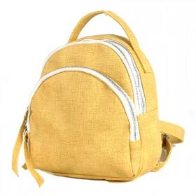 Сумка женская искусственная кожа GR-1615    (рюкзак-мини) ,    2отд,    2внут+2внеш карм,    желтый