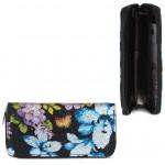 Кошелек женский искусственная кожа 7811-1,    на 1 молнию,    6отд,    8карм,      (цветы) ,    черный