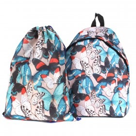 Комплект Юпитер-   (рюкзак+мешок) ,    уплотн.спинка,    1отд+перег,    1внут+3внеш карм,    черный/цветные    (бабочки)