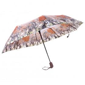 Зонт женский TR-700 R=56см,    полуавт;    8 спиц-сталь-fiber;    полиэстер,    коричневый