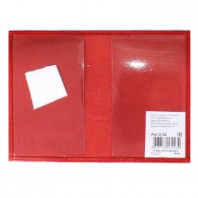 Обложка для паспорта Premier-О-82    (с гербом)    натуральная кожа красный ладья   (35)