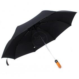 Зонт муж ТриСлона-505,    R=58см,    3слож,    суперавт,    8спиц,    тефлон,    ручка-крюк   (ротанг) ,    полиэстер,    черный