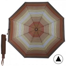 Зонт женский TR-35179,    R=56,    полуавт;    8спиц-сталь;    3слож;    полиэстер,       (полоски)    коричневый