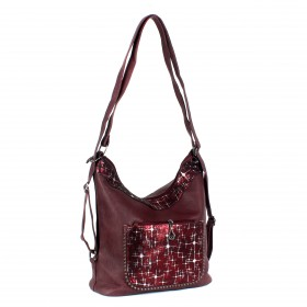 Сумка женская искусственная кожа ZEL-7831   (рюкзак) ,    1отд,    2внеш+4внут/карм,    бордовый