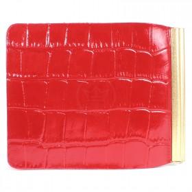 Зажим для купюр Premier-Z-1    (зажим-скрепка)    натуральная кожа красный крокодил   (115)