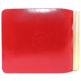 Зажим для купюр Premier-Z-1    (зажим-скрепка)    натуральная кожа красный гладкий   (135)