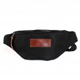 Сумка мужская Rise-к-007    (текстиль)    поясная,    1отд,    1внеш карм,    черный