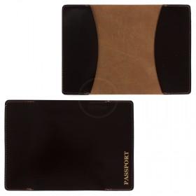 Обложка для паспорта PVS-03 натуральная кожа коричневый гладкий   (206)